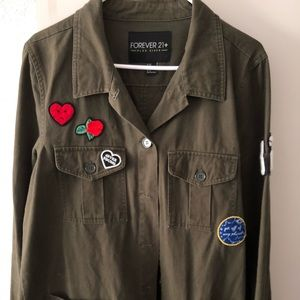 Forever 21+ Army Style Jacket w/ Patches